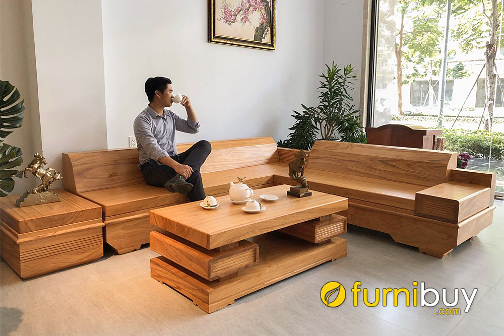 sofa gỗ phòng khách sang trọng góc chữ L