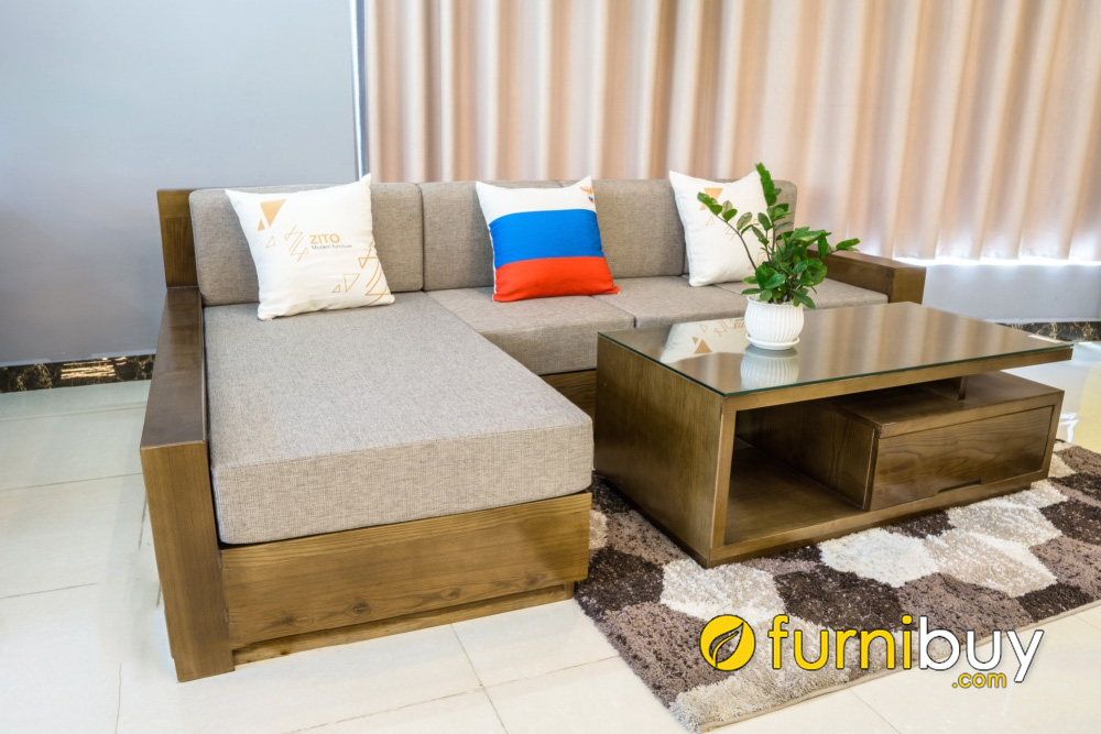sofa gỗ sồi chữ L hiện đại nhỏ mini giá rẻ