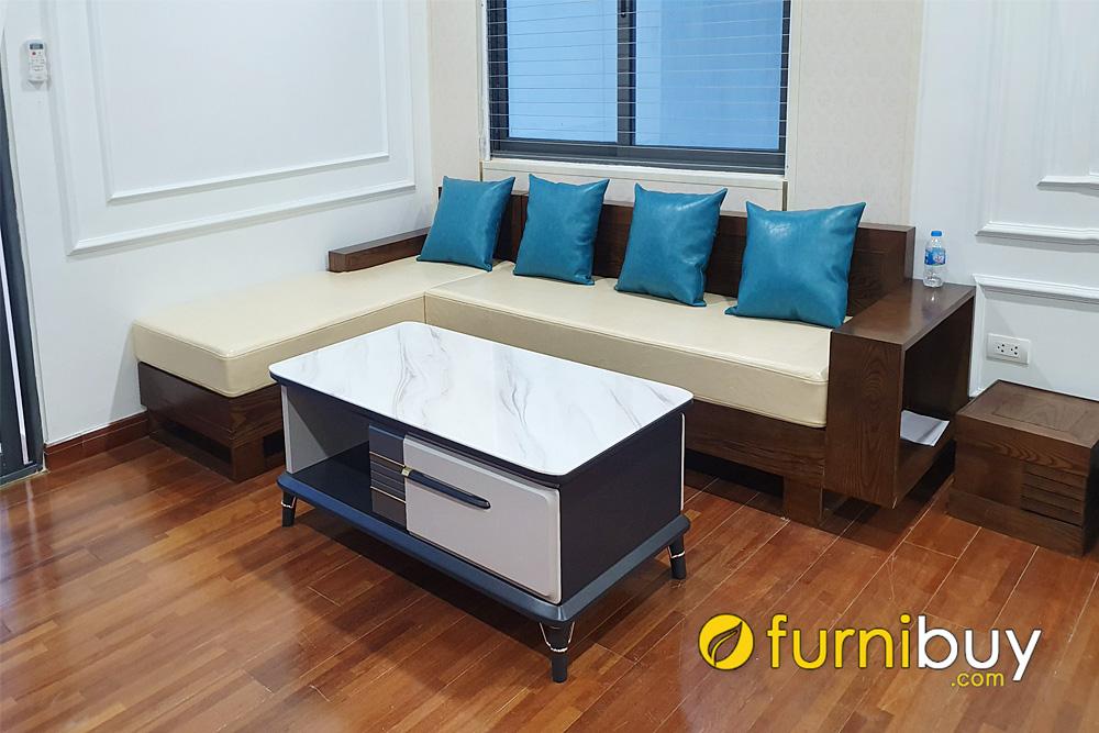 mẫu sofa gỗ sồi góc giá rẻ sơn màu óc chó đẹp