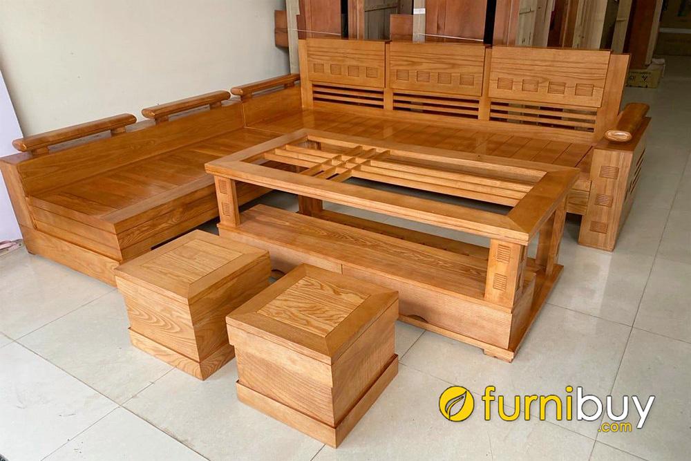 sofa gỗ xoan đào góc L hiện đại nhỏ gọn mini