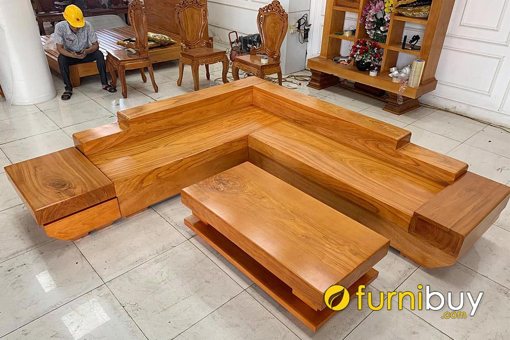 sofa gỗ góc chữ L nguyên tấm tựa lưng thấp