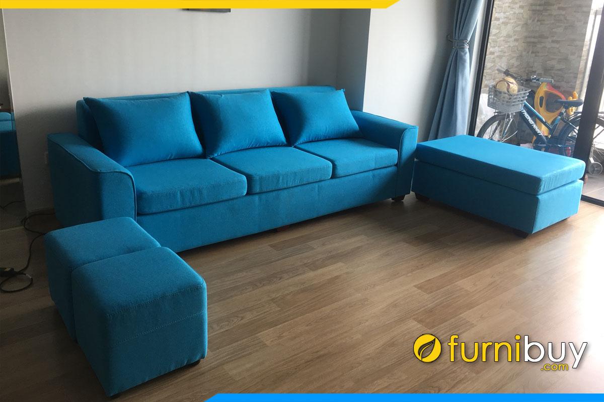 sofa vang boc ni tho mau xanh kich thuoc 2m2