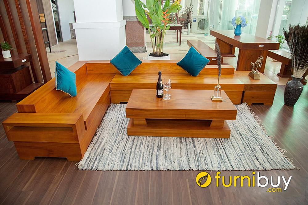ưu điểm của sofa gỗ chữ L nguyên khối