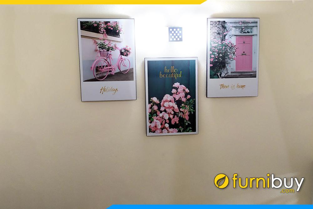 Bo tranh canvas hoa hong 3 tam dep hien dai