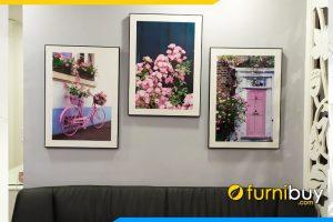 Mau tranh canvas dep xe da hoa hong trang tri phong khach
