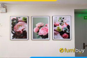 Mau tranh canvas dep hoa hong mau don 3 tam