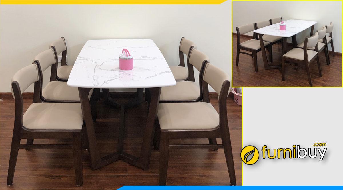 bộ bàn ăn 6 ghế gỗ sồi màu óc chó đẹp BA045B nhà chị Loan