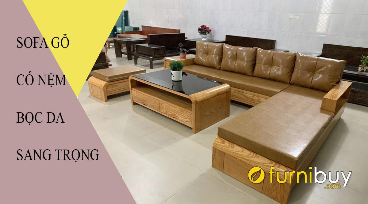 bàn ghế sofa gỗ đệm da sang trọng giá rẻ