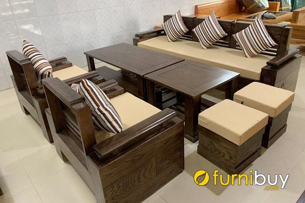 bộ ghế sofa gỗ sồi 7 món hiện đại sang trọng