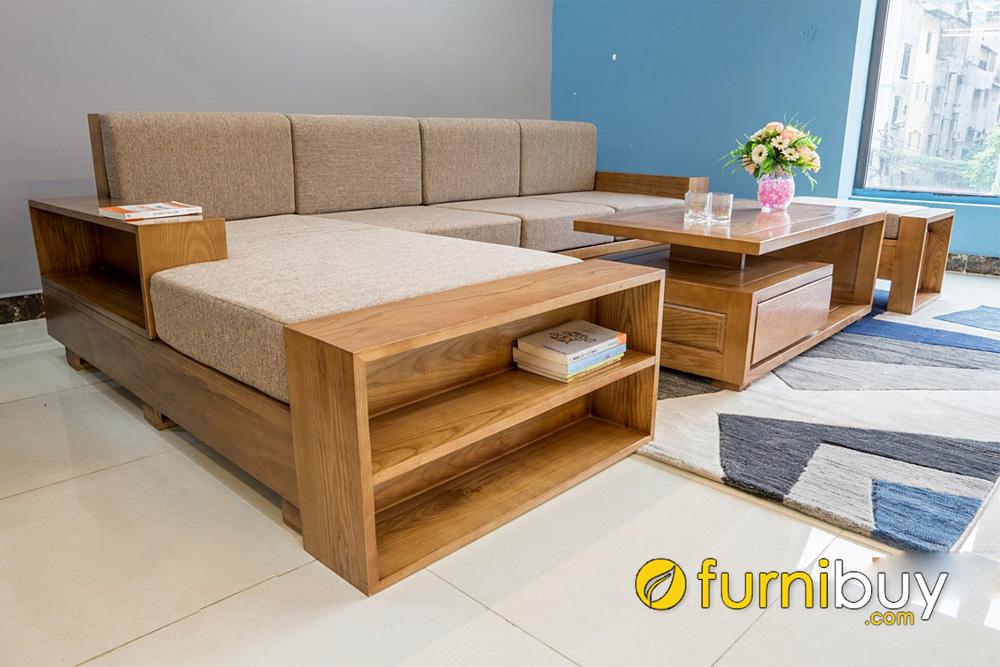 bàn ghế sofa gỗ sồi góc L kích thước rộng cho nhà chung cư