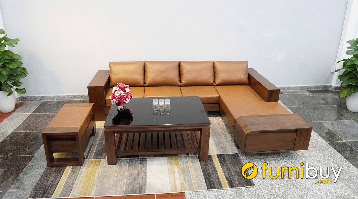 bàn ghế sofa gỗ sồi nga sơn màu óc chó đẹp