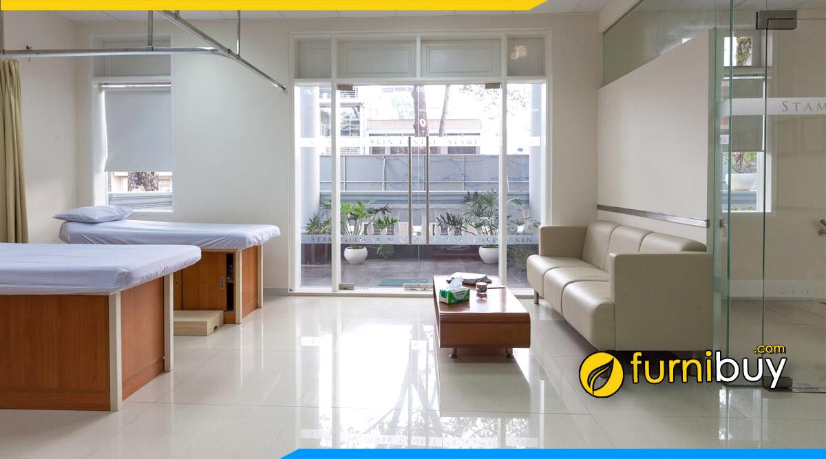 hình ảnh bộ bàn ghế sofa phòng chờ cho bệnh viện bọc da sang trọng