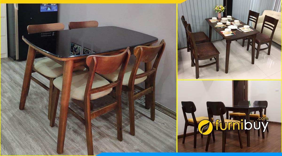 ảnh bộ bàn ăn 4 ghế gỗ sồi màu óc chó đẹp tại Furnibuy