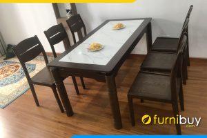 Bộ bàn ghế ăn gỗ sồi mặt đá cao cấp BA037 chị Nhung