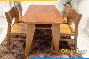 hình ảnh Bộ bàn ăn gỗ sồi chân vát 4 ghế BA050 đẹp độc