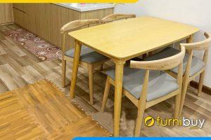 hình ảnh bộ bàn ăn mango chân tròn 4 ghế 1m2 đẹp BA052 đơn giản