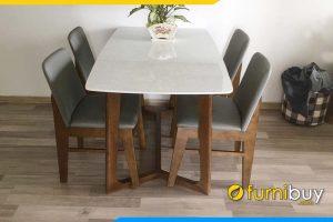 hình ảnh bộ bàn ăn mặt đá 1m2 kết hợp 4 ghế BA027A