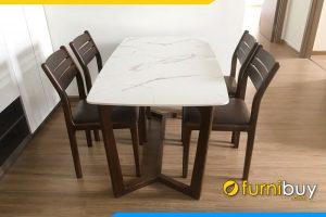 hình ảnh Bộ bàn ăn mặt đá khung sồi 4 ghế BA049