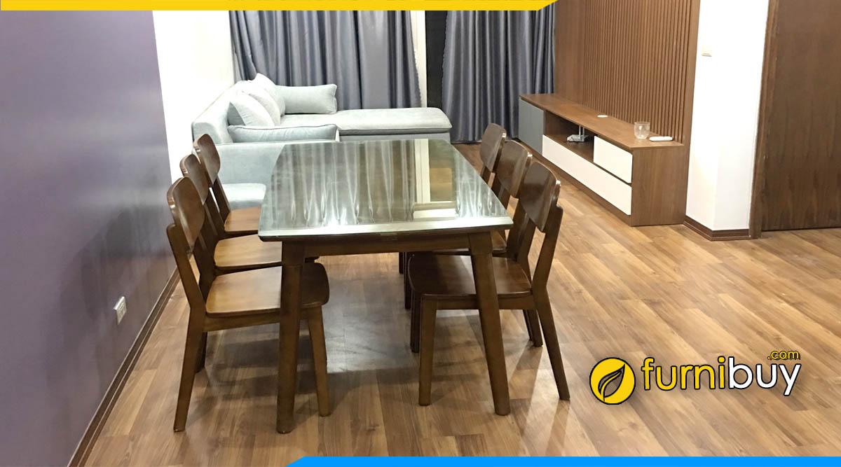 hình ảnh bộ bàn ghế ăn gỗ sồi đẹp hiện đại màu óc chó được ưa chuộng nhất năm nay