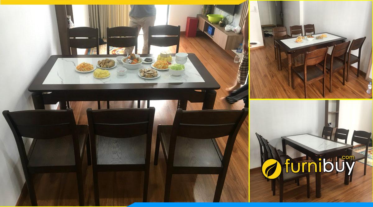 Bộ bàn ăn 6 ghế gỗ sồi mặt đá sơn PU màu đen đẹp BA047 chị Nhung