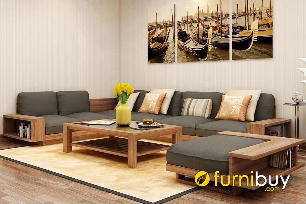 bộ ghế sofa gỗ sồi chữ U cho phòng khách rộng