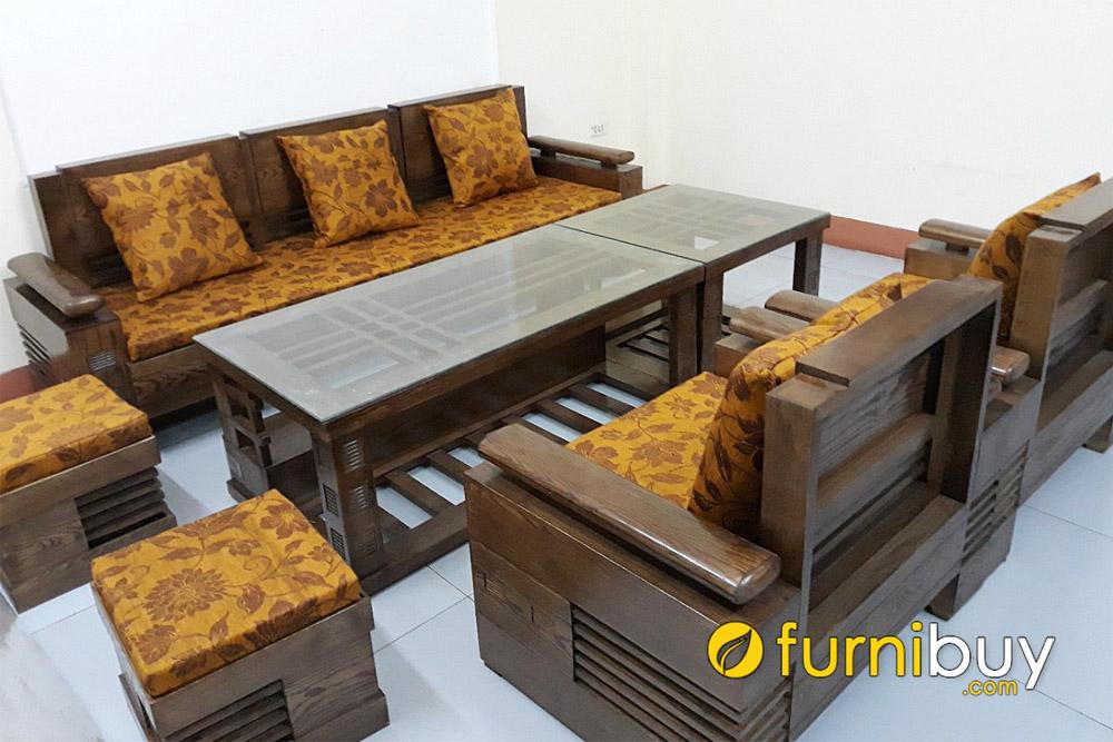 bộ bàn ghế sofa gỗ sồi tay trứng 7 món sang trọng