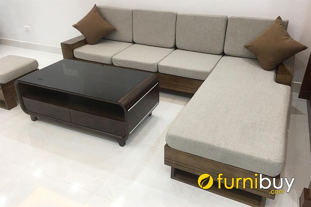 bộ bàn ghế sofa góc L gỗ sồi sơn màu óc chó nệm nỉ sang trọng