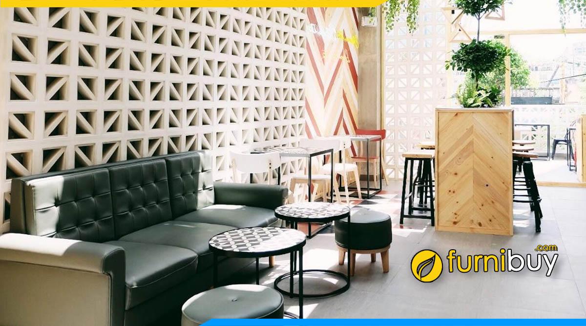 hình ảnh bộ bàn ghế sofa phòng chờ quán trà sữa đẹp