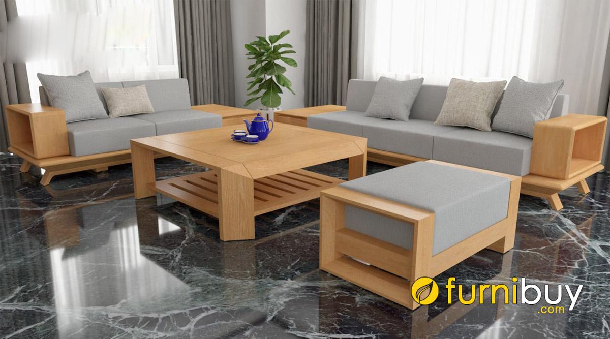 bộ bàn ghế sofa gỗ sồi mỹ chữ U dáng rộng hiện đại