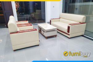Bộ bàn ghế sofa văn phòng bọc da tay ốp gỗ Sồi FBVP1003
