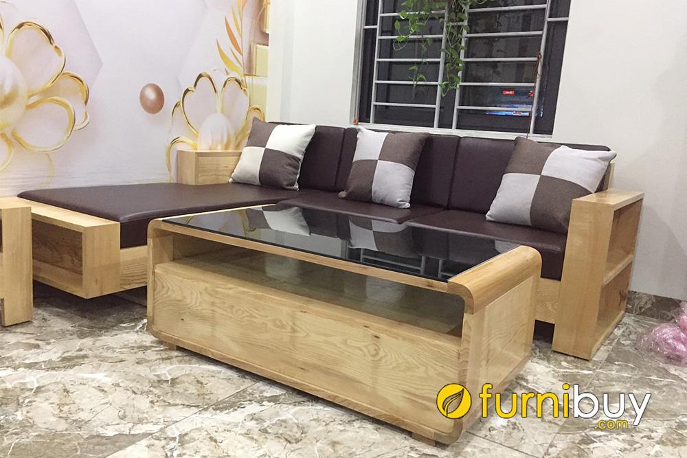 bộ ghế sofa gỗ sồi góc chữ L có tay vịn vuông vắn