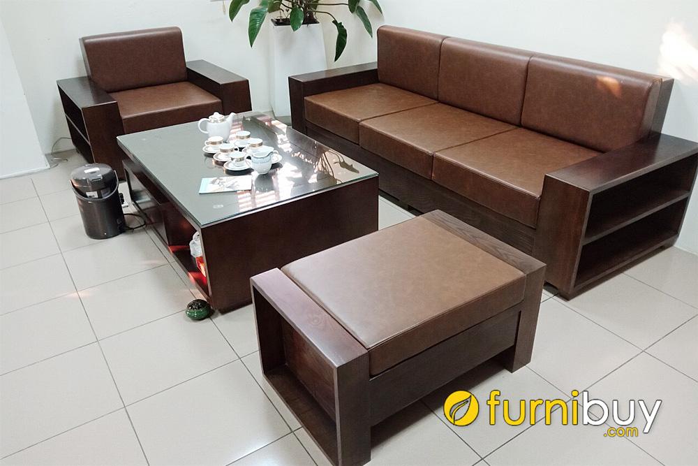bộ ghế sofa gỗ sồi văng đơn nệm da màu óc chó kê phòng giám đốc