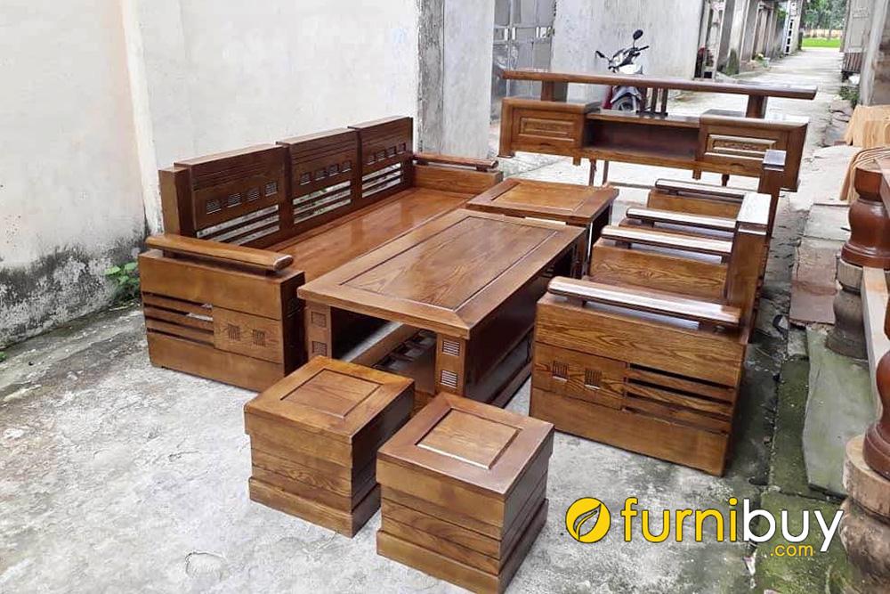 bộ sofa gỗ sồi 7 món cho phòng khách hiện đại