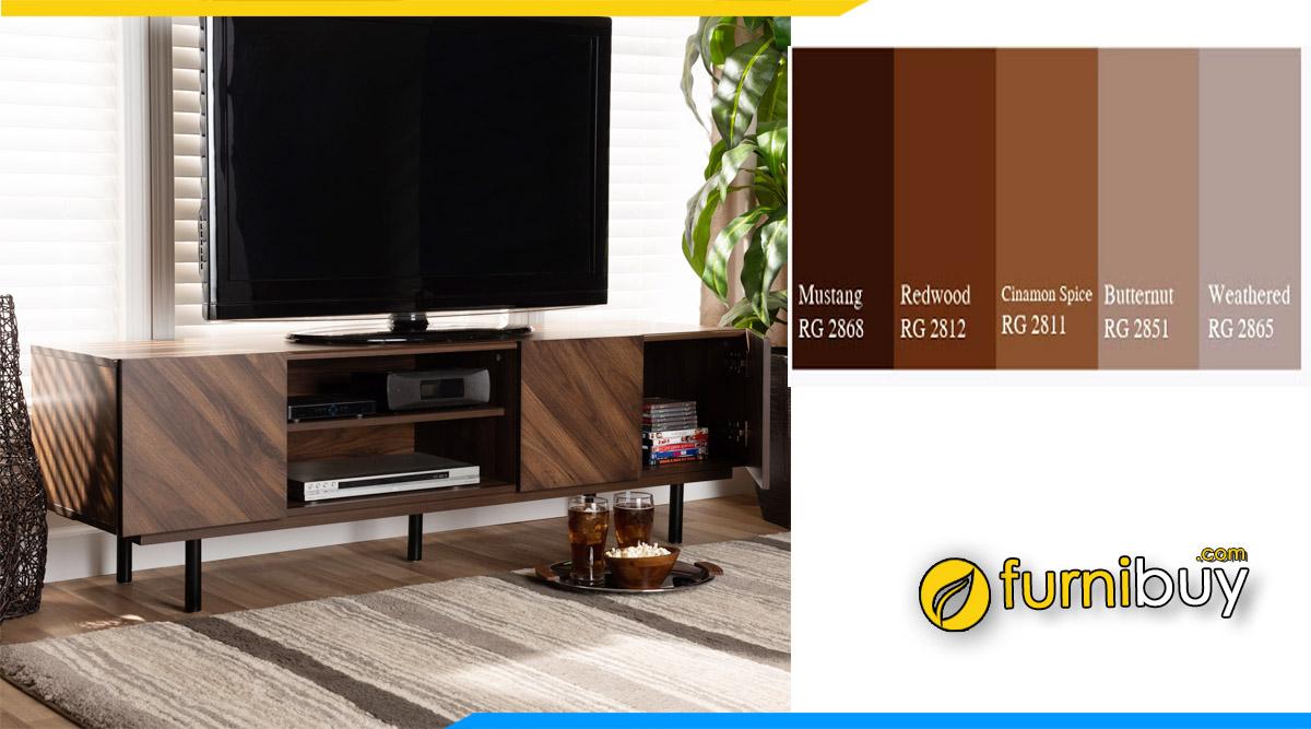 Furnibuy giới thiệu các mẫu kệ tivi màu nâu gỗ công nghiệp đẹp chọn lọc