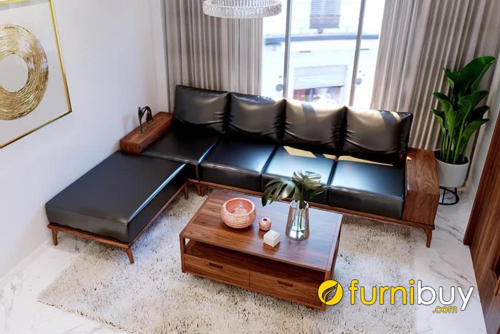 ghế sofa gỗ da cao cấp cho phòng khách