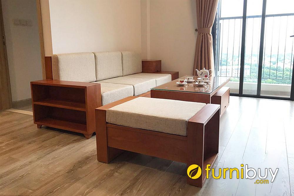 ghế sofa gỗ sồi dạng băng dài cho nhà chung cư đẹp