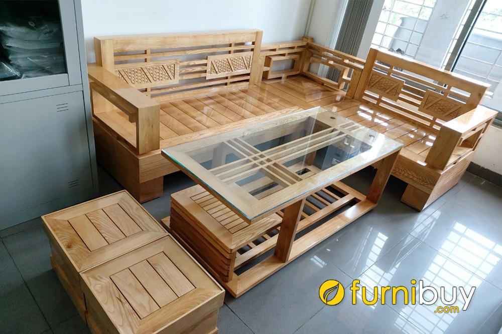 mẫu sofa góc gỗ sồi Nga