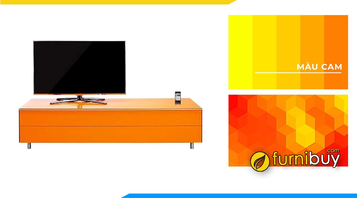 Kệ tivi gỗ công nghiệp màu cam nên mua không? Tư vấn bởi furnibuy
