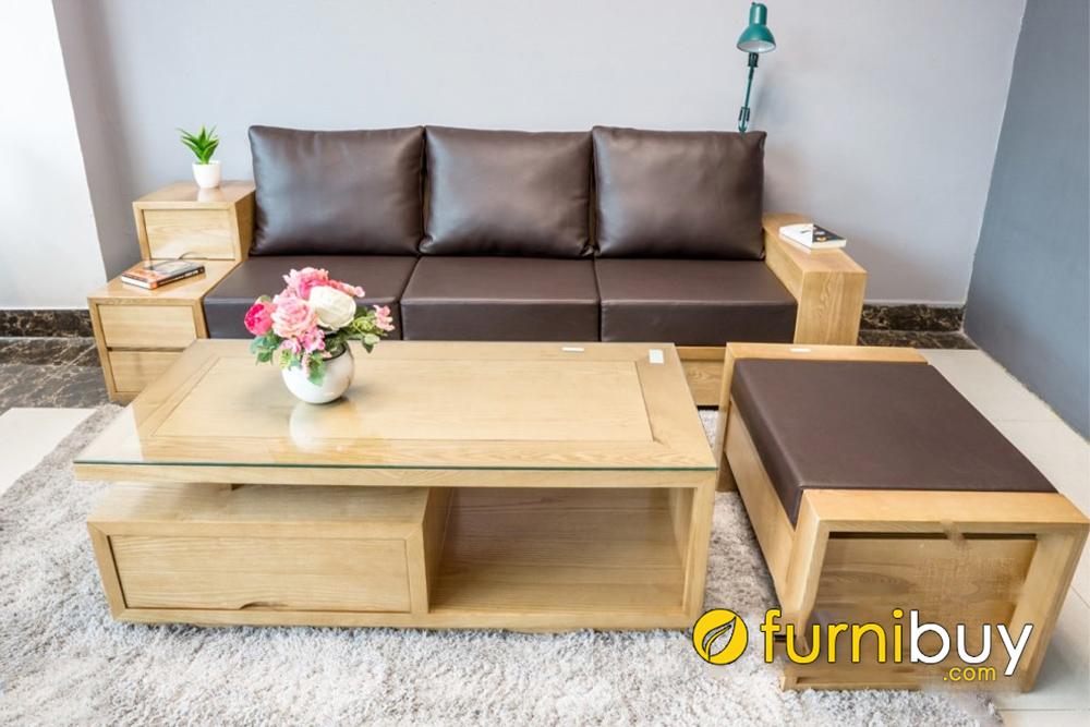 kích thước bàn ghế sofa gỗ sồi phòng khách