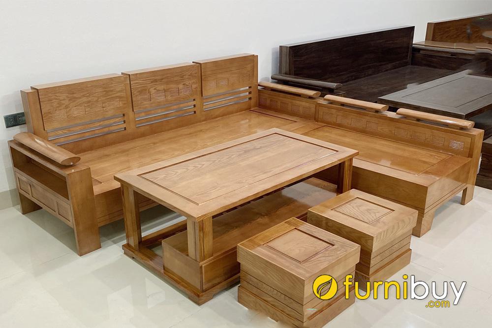 mẫu bàn ghế sofa gỗ sồi nga góc L giá rẻ bền đẹp