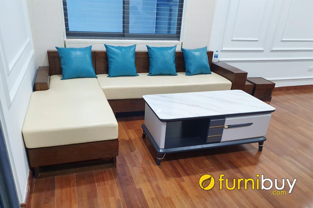 mẫu ghế sofa gỗ sồi đẹp có nệm nỉ hiện đại