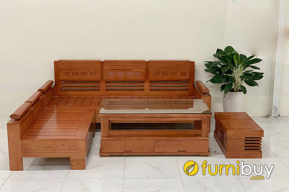 mẫu ghế sofa gỗ sồi tay trứng góc L nhỏ gọn hiện đại