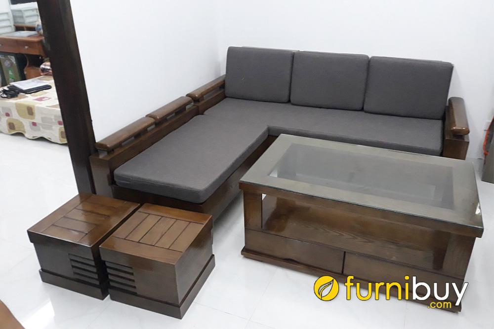 mẫu ghế sofa góc gỗ sồi tay trứng hiện đại nhỏ gọn