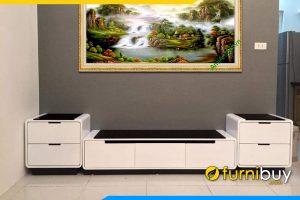 Hình ảnh kệ tivi gỗ công nghiệp kết hợp tủ nhỏ FBK017