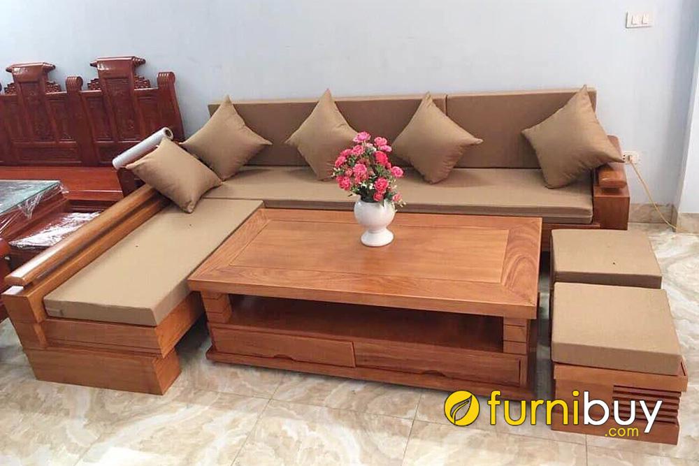 sofa gỗ sồi bọc nệm đặt làm theo yêu cầu