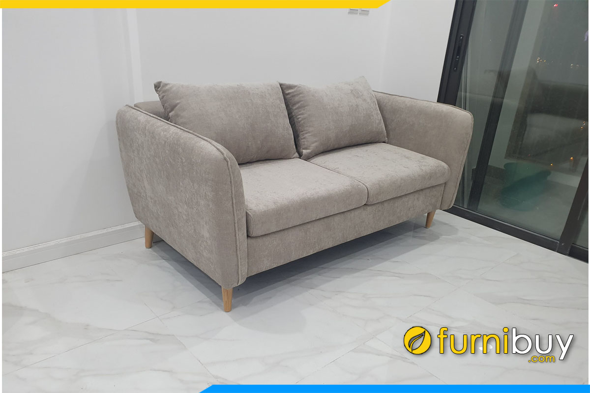sofa vang mini 2 cho ngoi boc ni min ke phong khach chung cu