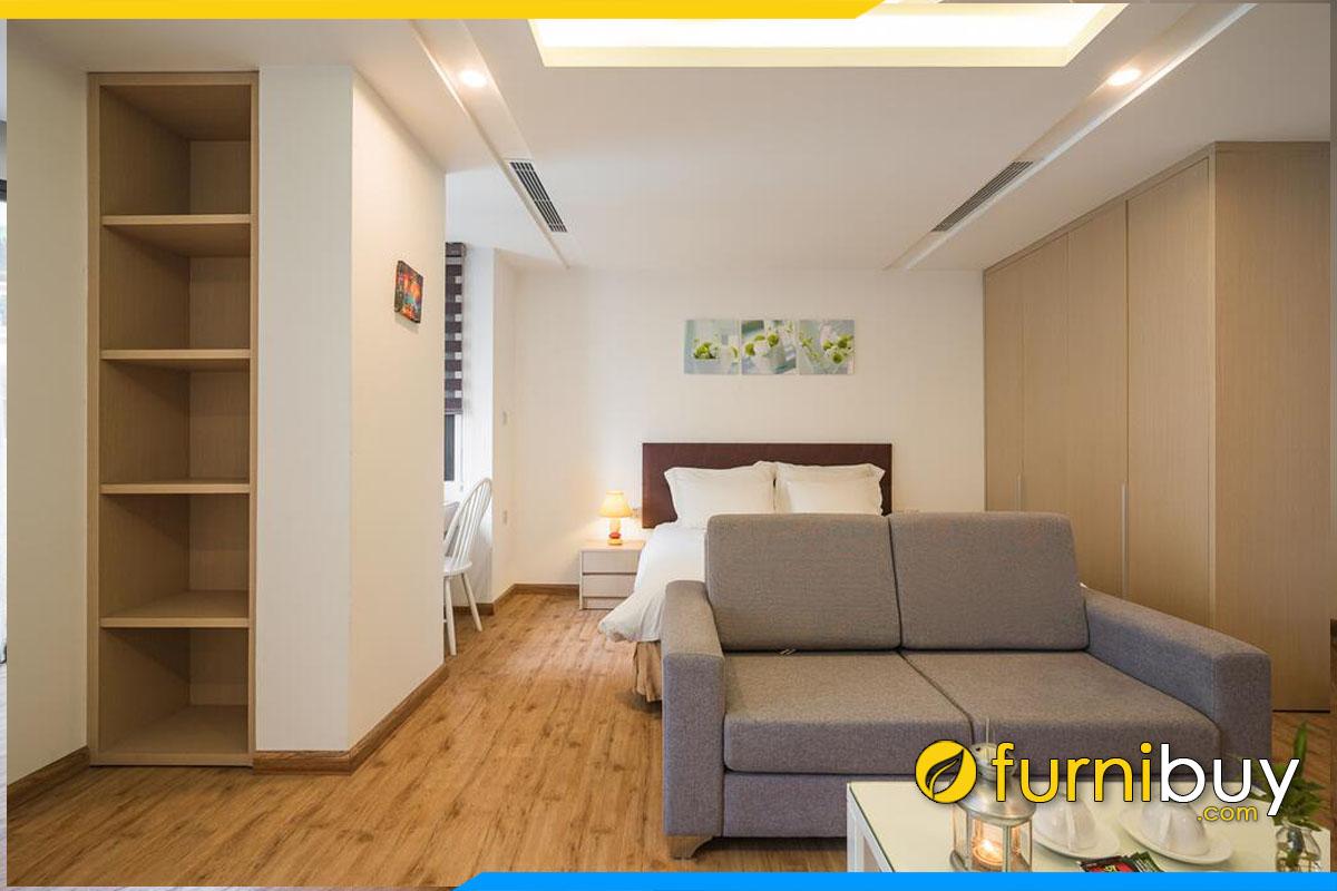 sofa vang mini 2 cho ngoi ke phong ngu khach san don gian hien dai