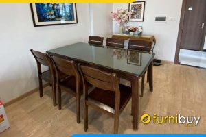 ảnh Bộ bàn ăn 6 ghế gỗ sồi màu óc chó BA041 không nệm đẹp