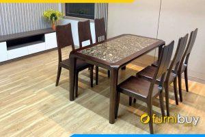 ảnh bộ bàn ăn 6 ghế mặt đá sang trọng BA055