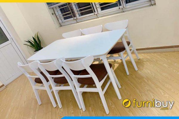 ảnh bộ bàn ăn hiện đại 6 ghế Mango màu trắng BA035A